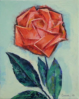 Origami Painting - Origami Rose by Michael Creese