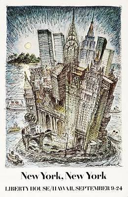 Chrysler Building Drawing - Original 1981 Edward Sorel Poster New York New York by Edward Sorel