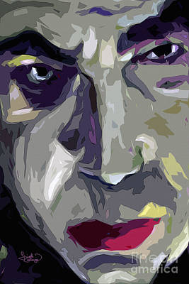 Noir Mixed Media - Original Abstract Art Bela Lugosi Dracula by Ginette Callaway