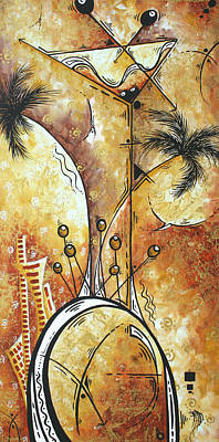 Original Abstract Cityscape And Martini Art Modern Las Vegas Painting The Spirit Of Vegas By Madart Art Print by Megan Duncanson