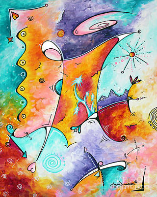 Abstract Landscape Painting - Original Abstract Colorful Painting Fun And Funky Landscape And Colorful Theme Wistful Dreams By Md by Megan Duncanson