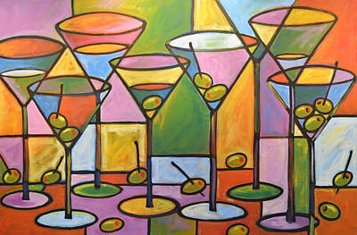 Original Abstract Martini Bar Restaurant Decor... Martini And Olives Original by Amy Giacomelli