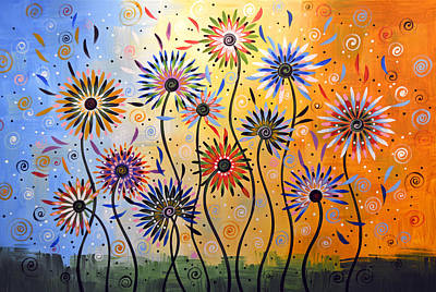 Original Abstract Modern Flowers Garden Art ... Explosion Of Joy Art Print