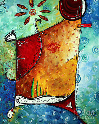 Original Abstract Pop Art Style Colorful Landscape Painting Home To Tuscany By Megan Duncanson Art Print by Megan Duncanson