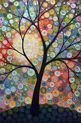 Original Abstract Tree Landscape Art Painting ... Waiting For The Moon Art Print