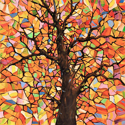 Original Abstract Tree Landscape Painting ... Stained Glass Tree #2 Art Print