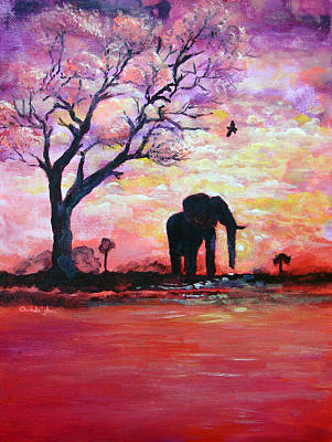 Modern Ganesha Painting - Original Acrylic Elephant Painting Gentle Strength From Within by Ashleigh Dyan Bayer