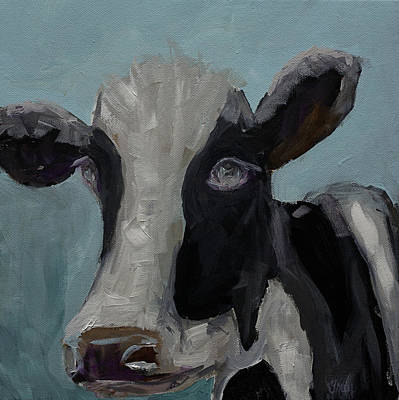 Painting - Original Acrylic Painting Whimsy Cow Painting Daily Painter Day 8 by Gray  Artus