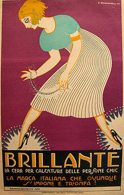 Original Art Deco Italian Carton For Brillante Shoe Polish Original by Bevilacova