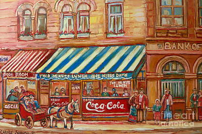 Horse And Buggy Painting - Original Bank Notre Dame Street by Carole Spandau