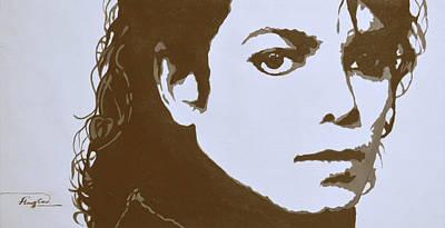 original black an white acrylic paint art- portrait of Michael Jackson#16-2-4-12 Art Print