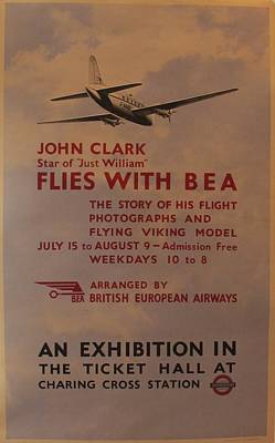 Airways Drawing - Original British Exhibition Poster John Clark Flies With Bea by London Underground