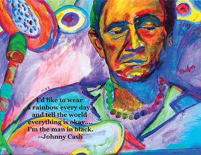 Original Celebrity Painting Johnny Cash By Shalla The Artist 24x18 Original by Shalla TheArtist