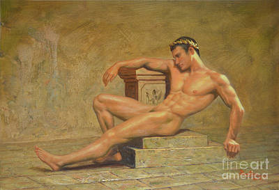 Original Classic Oil Painting Gay Man Body Art Male Nude -023 Art Print