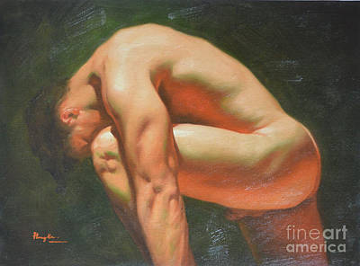 Original Classic Oil Painting Man Body Art-male Nude -042 Art Print