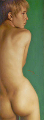 Original Classic Oil Painting Man Body Art-the Young Male Nude#16-2-1-07 Art Print