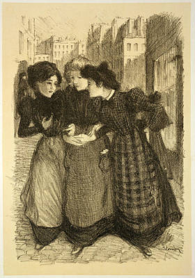 Chatting Drawing - Original Drawing For Les Maitres De by Theophile Alexandre Steinlen