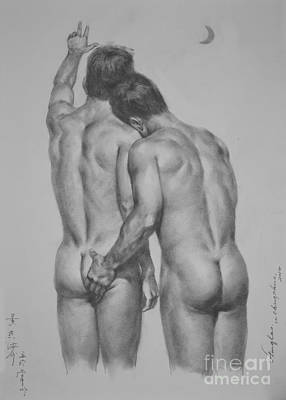 Original Drawing Sketch Charcoal Chalk Male Nude Gay Man Moon Art Pencil On Paper By Hongtao Art Print