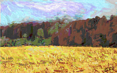 Painting - Original Fine Art Digital Autumn Fields Maryland Detail by G Linsenmayer