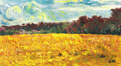 Painting - Original Fine Art Digital Autumn Fields Maryland by G Linsenmayer