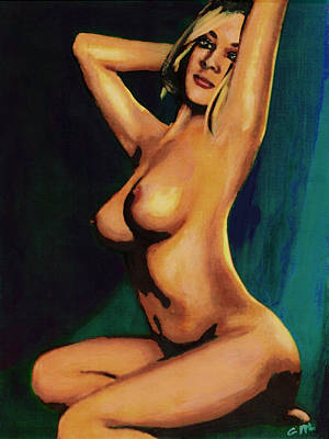 Art Print featuring the painting Original Fine Art Female Nude Painting Seated 7c Mods1c by G Linsenmayer