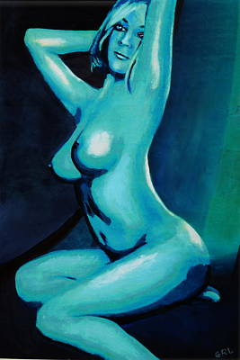 Painting - Original Fine Art Female Nude Painting Seated Color Blue by G Linsenmayer