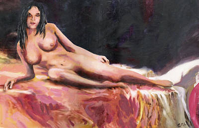 Painting - Original Fine Art Female Nude Sara Reclining by G Linsenmayer
