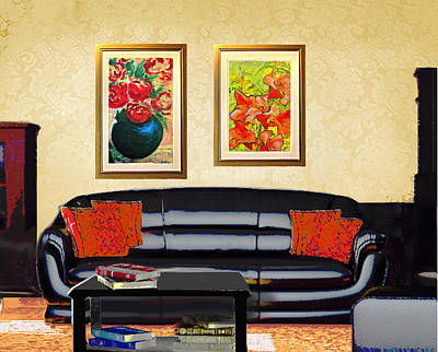 Painting - Original Fine Art Home Decor Flowers by G Linsenmayer