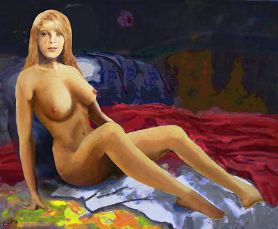 Painting - Original Fine Art Nude Jess Sitting - By G. Linsenmayer by G Linsenmayer