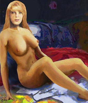 Painting - Original Fine Art Nude Jess Sitting Detail - By G. Linsenmayer by G Linsenmayer