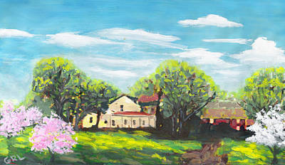Painting - Original Fine Art Painting Landscape Sprintime Manassas Warrenton Virginia by G Linsenmayer
