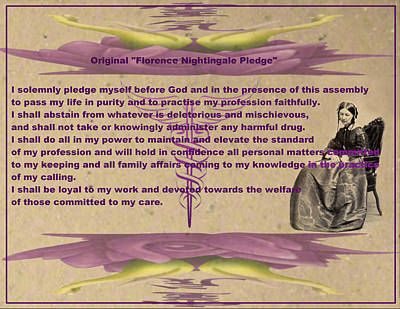 Photograph - Original Florence Nightingale Pledge Poster by Robert Kernodle