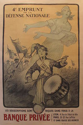 Original French Wwi War Bonds Poster 4e Emprunt De La Defense Nationale Original