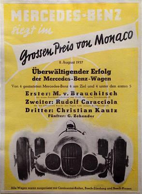 Original German Mecedes Benz Achievement Poster Monaco Grand Prix Original