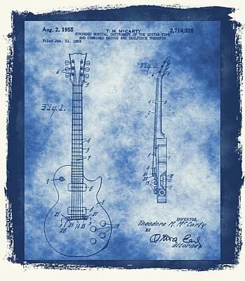 Music Mixed Media - Original Guitar Patent  by Dan Sproul