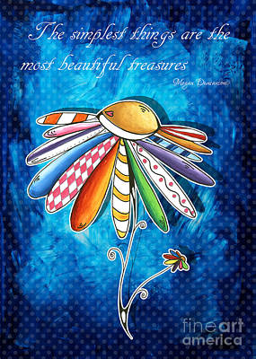 Daisy Drawing - Original Hand Painted Daisy Quilt Painting Inspirational Art Quote By Megan Duncanson by Megan Duncanson
