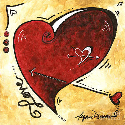 Inspirational Painting - Original Heart Love Painting From The Madart Pop Of Love Collection By Megan Duncanson by Megan Duncanson