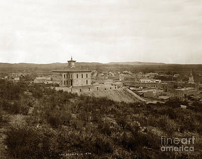 Photograph - Original High School Pound Cake Hill  Los Angeles California Circa 1873 by California Views Mr Pat Hathaway Archives