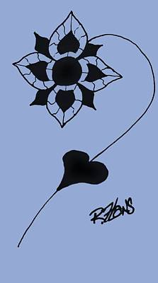 Painting - Original Ink Flower Cyan by Rob Hans
