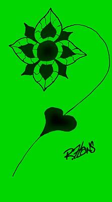 Portriat Photograph - Original Ink Flower Green by Rob Hans