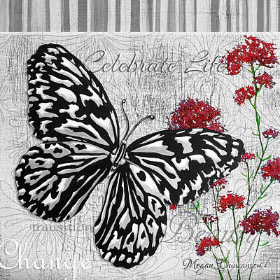 Black Is Beautiful Wall Art - Painting - Original Inspirational Uplifting Butterfly Painting Celebrate Life by Megan Duncanson