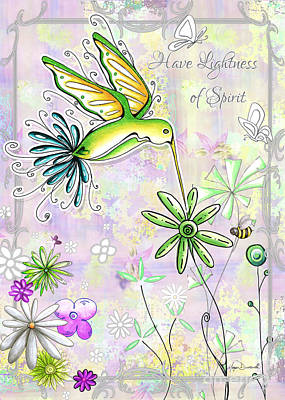 Inspire Painting - Original Inspirational Uplifting Hummingbird Floral Painting Art Quote Design By Megan Duncanson by Megan Duncanson
