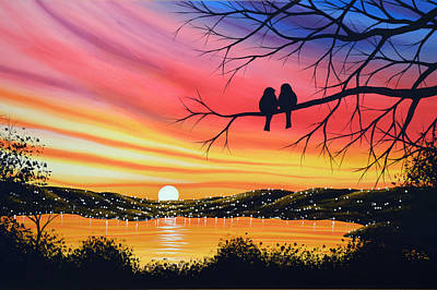 Original Landscape Art Birds Painting ... Alone Now Art Print