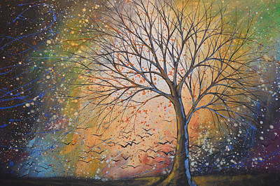 Drip Painting - Original Landscape Tree Painting Landscape Art ... Take These Dreams by Amy Giacomelli