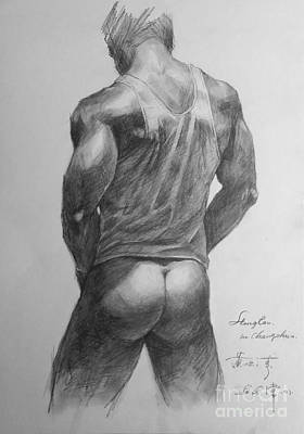 Original Man Gay Pencil Drawing Sketch Art On Peper By Hongtao Art Print