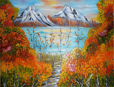 Oil Painting - Original Modern Oil Painting Autumn Sunset In Mountains 2 Landscape  Palette Knife In Style Impressi by Natalya Zhdanova