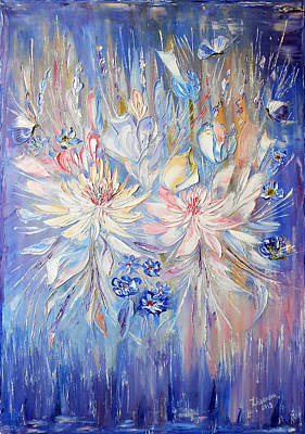 Abstract Painting - Original Modern Palette Knife Abstract Oil Painting Handmade Lilac Waltz Of Flowers With Butterflies by Natalya Zhdanova