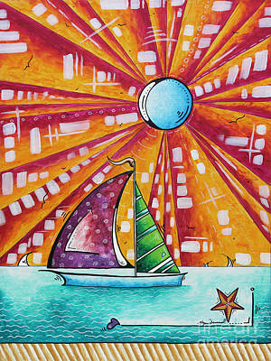 Original Nautical Pop Art Sailboat Painting Sail Away By Megan Duncanson Art Print by Megan Duncanson