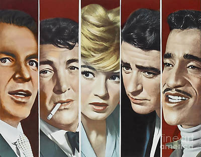 Rat Pack Mixed Media - Original Oceans 11 Cast by Marvin Blaine