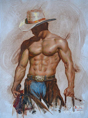 Original Oil Painting Gay Man Body Art-cowboy#16-2-5-19 Art Print
